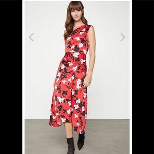 BCBGMAXAZRIA Floral Satin Ruched Dress